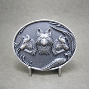 New Vintage Silver Plated Western Wolves Oval Belt Buckle