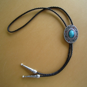 New Vintage Silver Plated Oval Enamel American Native Southwest Patterns Bolo Tie Wedding Leather Necklace