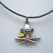 Skull Pirate Cowboy Western Metal Charm Pendant Leather Necklace