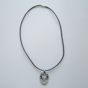 Crown Skull Metal Charm Pendant Leather Necklace