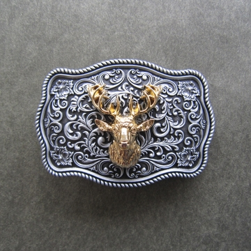 Small Size Vintage Original Deer Head Western Belt Buckle Gurtelschnalle Boucle de ceinture