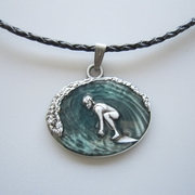 Surfing Sports Pendant Charm Braided Leather Necklace NECKLACE-3D034