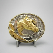 Two-Tone Silver Gold Plated Horse HorseShoe Belt Buckle Gurtelschnalle Boucle de ceinture