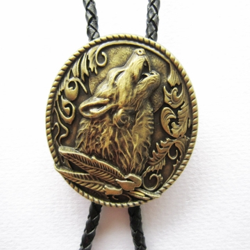 Vintage Bronze Plated Western Wolf Bolo Tie Wedding Leather Necklace