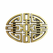 New Original Cut Out Vintage Bronze Plated Lucky Knot Oval Belt Buckle BUCKLE-CH005AB