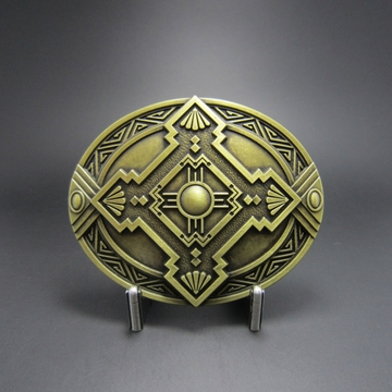 New Classic Vintage Bronze Plated Cross Celtic Knot Oval Southwest Belt Buckle