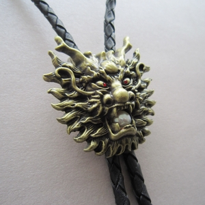 New Jeansfriend Vintage Bronze Plated Real White Pearl Dragon Bolo Tie Leather Necklace