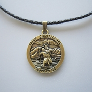 Vintage Bronze Plated Saint Christopher Metal Charm Pendant Leather Necklace
