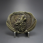 New Classic Vintage Bronze Plated Western Moon Wolf Oval Belt Buckle