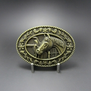 New Vintage Bronze Plated Horse Head Saddle Western Oval Belt Buckle Gurtelschnalle Boucle de ceinture