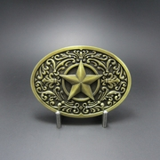 Vintage Bronze Plated Southwest Western Star Oval Belt Buckle Gurtelschnalle Boucle de ceinture