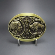 New Vintage Bronze Plated Native Chief Bull USA 5 Cents Coin Belt Buckle Gurtelschnalle Boucle de ceinture