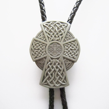 New Vintage Cowboy Cowgirl Celtic Cross Bolo Tie Costume Wedding Leather Necklace