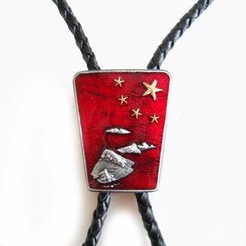 Vintage Red Enamel Nation Native Flag Gold Star Bolo Tie Leather Necklace