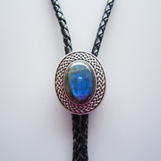 Vintage Silver Plated Handcraft Nature Blue Labradorite Stone Western Oval Bolo Tie