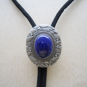 New Vintage Silver Plated Handcraft Nature Lapis lazuli Stone Ukiyo-e Oval Bolo Tie