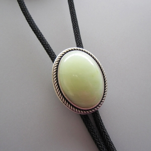 Vintage Silver Plated Handcraft Nature The New Mountain Jade Oval Bolo Tie