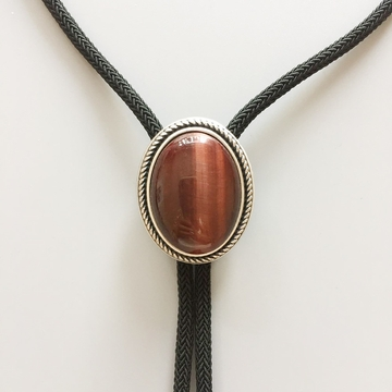 New Vintage Silver Plated Nature Red Tiger Eye Stone Western Oval Bolo Tie