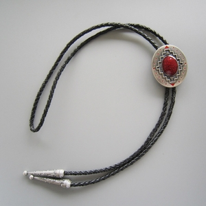 New Vintage Silver Plated Southwest Pattern Oval Wedding Bolo Tie Leather Necklace