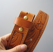 New Jeansfriend Original Light Coffee Hand Crafted Western Flowers Solid Real Leather Belt With Brass Screws