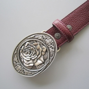 Western Rose Flower Oval Belt Buckle W Red PU Leather Belt
