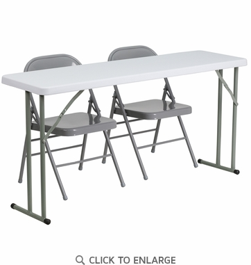 18'' x 60'' Plastic Folding Training Table with 2 Gray Metal Folding Chairs [RB-1860-1-GG]