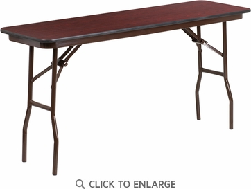 18'' x 60'' Rectangular Mahogany Melamine Laminate Folding Training Table [YT-1860-MEL-WAL-GG]
