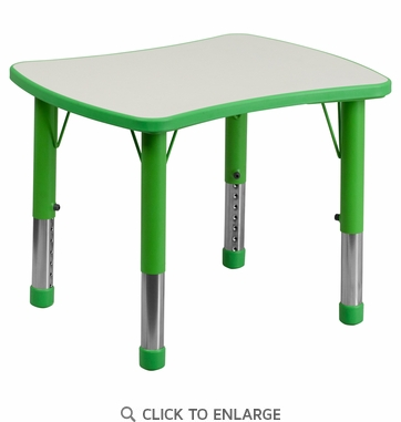 21.875''W x 26.625''L Height Adjustable Rectangular Green Plastic Activity Table with Grey Top