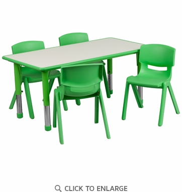23.625''W x 47.25''L Adjustable Rectangular Green Plastic Activity Table Set with 4 School Stack Chairs