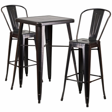 23.75'' Square Black-Antique Gold Metal Indoor-Outdoor Bar Table Set with 2 Barstools with Backs [CH-31330B-2-30GB-BQ-GG]