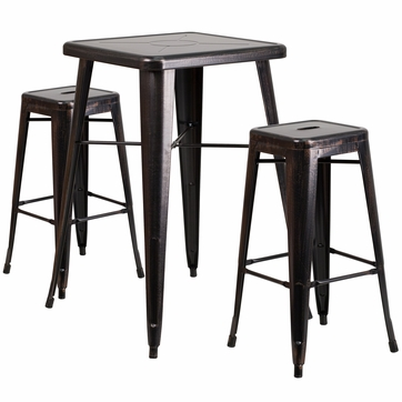 23.75'' Square Black-Antique Gold Metal Indoor-Outdoor Bar Table Set with 2 Square Seat Backless Barstools [CH-31330B-2-30SQ-BQ-GG]