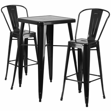 23.75'' Square Black Metal Indoor-Outdoor Bar Table Set with 2 Barstools with Backs [CH-31330B-2-30GB-BK-GG]