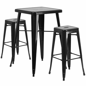 23.75'' Square Black Metal Indoor-Outdoor Bar Table Set with 2 Square Seat Backless Barstools [CH-31330B-2-30SQ-BK-GG]