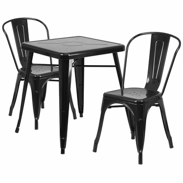 23.75'' Square Black Metal Indoor-Outdoor Table Set with 2 Stack Chairs [CH-31330-2-30-BK-GG]