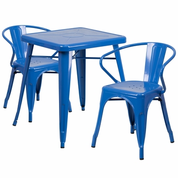 23.75'' Square Blue Metal Indoor-Outdoor Table Set with 2 Arm Chairs [CH-31330-2-70-BL-GG]