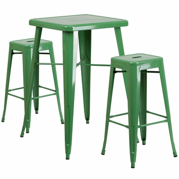 23.75'' Square Green Metal Indoor-Outdoor Bar Table Set with 2 Square Seat Backless Barstools [CH-31330B-2-30SQ-GN-GG]