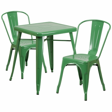 23.75'' Square Green Metal Indoor-Outdoor Table Set with 2 Stack Chairs [CH-31330-2-30-GN-GG]
