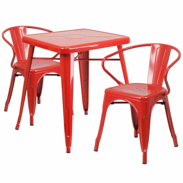 23.75'' Square Red Metal Indoor-Outdoor Table Set with 2 Arm Chairs [CH-31330-2-70-RED-GG]