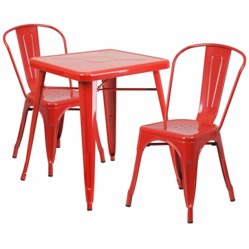 23.75'' Square Red Metal Indoor-Outdoor Table Set with 2 Stack Chairs [CH-31330-2-30-RED-GG]