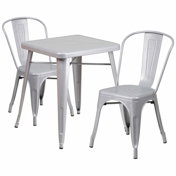 23.75'' Square Silver Metal Indoor-Outdoor Table Set with 2 Stack Chairs [CH-31330-2-30-SIL-GG]