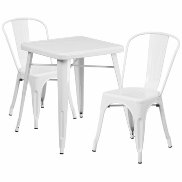 23.75'' Square White Metal Indoor-Outdoor Table Set with 2 Stack Chairs [CH-31330-2-30-WH-GG]