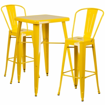 23.75'' Square Yellow Metal Indoor-Outdoor Bar Table Set with 2 Barstools with Backs [CH-31330B-2-30GB-YL-GG]