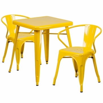 23.75'' Square Yellow Metal Indoor-Outdoor Table Set with 2 Arm Chairs [CH-31330-2-70-YL-GG]