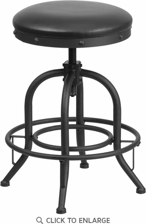 24'' Counter Height Stool with Swivel Lift Black Leather Seat [ET-BR542-224-GG]