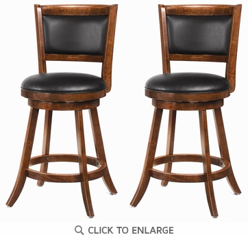 24 Inch Swivel Bar Stool (Set of 2) in Dark Espresso by Coaster - 101919
