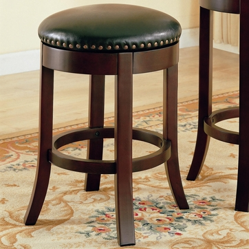 Walnut Finish Backless Swivel Counter Bar Stool (Set of 2)  by Coaster - 101059