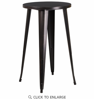 24'' Round Black-Antique Gold Metal Indoor-Outdoor Bar Height Table [CH-51080-40-BQ-GG]