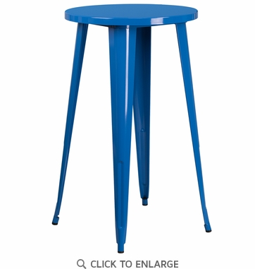 24'' Round Blue Metal Indoor-Outdoor Bar Height Table [CH-51080-40-BL-GG]