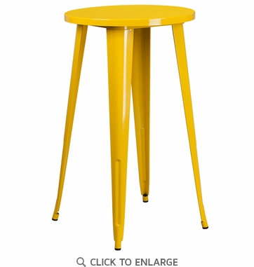 24'' Round Yellow Metal Indoor-Outdoor Bar Height Table [CH-51080-40-YL-GG]