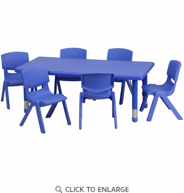24''W x 48''L Adjustable Rectangular Blue Plastic Activity Table Set with 6 School Stack Chairs